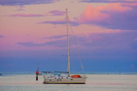 St. Augustine, Florida. January 26, 2019. Sailboat on beautiful sunset background in Floridas Historic Coast (2)