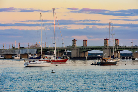 St. Augustine, Florida. January 26, 2019. Sailboats and Bridge of Lions on sunset sky background at Old Town in Floridas Historic Coast (69) Editorial