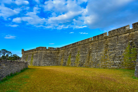 St. Augustine, Florida. January 26, 2019. Side view of San Marcos Castle Fort at Old Town in Floridas Historic Coast. Editorial