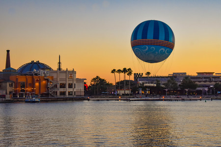Orlando, Florida. January 11, 2019 Panoramic view of Disney Springs on colorful sunset background at Lake Buena Vista area (3)