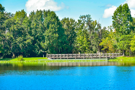 Orlando, Florida. January 15, 2019. Beautiful natural scenery with autumn forest, wood bridge and blue lake at Celebration Town in Kissimmee area.