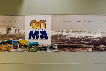 Miami, Florida. January 05, 2019. 90 th Aniversary sign at Miami International Airport.