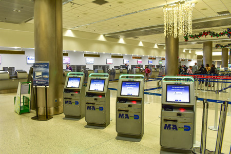 Miami, Florida. January 05, 2019. Web Checkin machines at Miami International Airport.