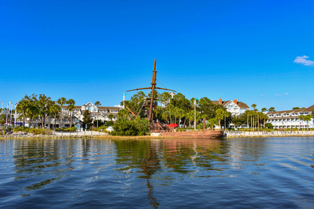Orlando, Florida. February 09, 2019 Partial view of Pirate Ship and Village Hotel at Lake Buena Vista area (1)