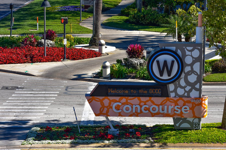 Orlando, Florida. January 12, 2019. West Concourse sign at International Drive area.