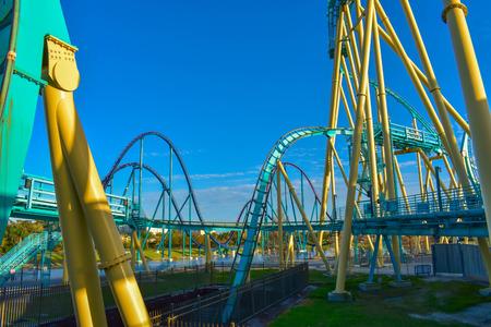 Orlando, Florida . February 26, 2019. People enjoying terrific Kraken rollercoaster at Seaworld Theme Park (4)