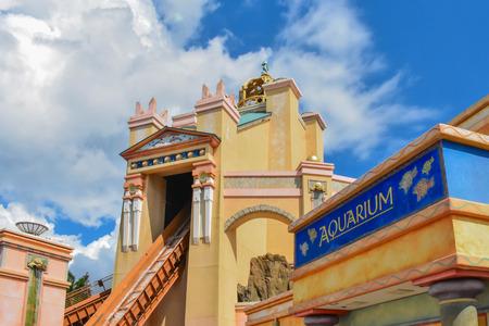 Orlando, Florida . February 26, 2019. Top view of Journey to Atlantis at Seaworld Theme Park (3)