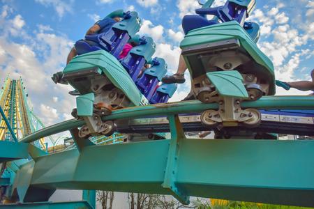 Orlando, Florida. February 25, 2019 People having fun Kraken rollercoaster at Seaworld Marine Theme Park (3)