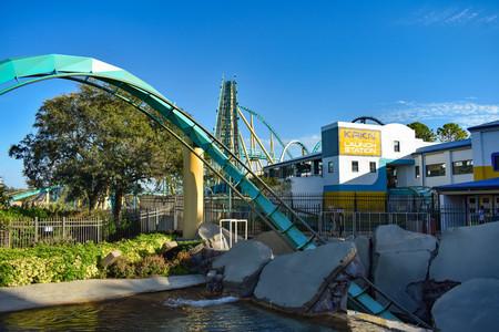 Orlando, Florida . February 26, 2019. People having fun terrific Kraken rollercoaster at Seaworld Theme Park (3)