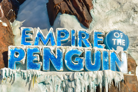 Orlando, Florida . February 26, 2019. Top view of Empire of the Penguin sign at Seaworld Theme Park (1)