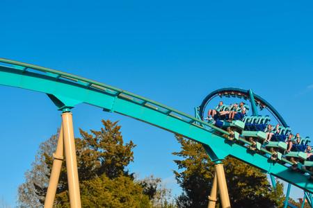 Orlando, Florida . February 26, 2019. People enjoying terrific Kraken rollercoaster at Seaworld Theme Park (15)