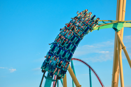 Orlando, Florida . February 26, 2019. People having fun terrific Kraken rollercoaster at Seaworld Theme Park (11)