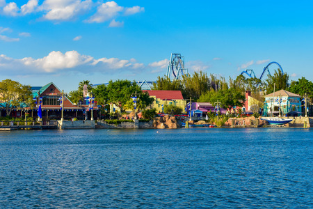 Orlando, Florida. March 09 2019. Panoramic view of colorful Waterfront and rollercoaster at Seaworld in International Drive area (7)