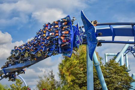 Orlando, Florida. March 09 2019. People enjoying Manta Ray rollercoaster at Seaworld in International Drive area (2)