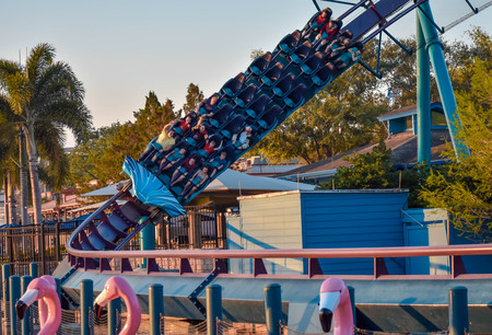 Orlando, Florida. March 09 2019. People having fun Mako rollercoaster at Seaworld in International Drive area (2)
