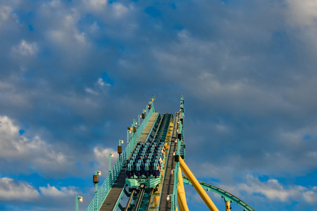 Orlando, Florida. March 05, 2019. People having fun Kraken rollercoaster at Seaworld Marine Theme Park (9) 報道画像