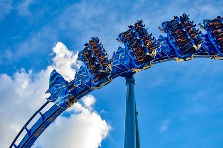 Orlando, Florida. March 09, 2019 People having fun Manta Ray rollercoaster at Seaworld Marine Theme Park (3)
