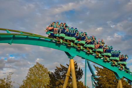 Orlando, Florida. March 05, 2019. People having fun Kraken rollercoaster at Seaworld Marine Theme Park (7)