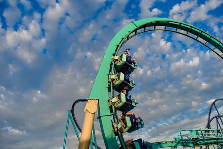 Orlando, Florida. February 25, 2019 People having fun Kraken rollercoaster at Seaworld Marine Theme Park (4)