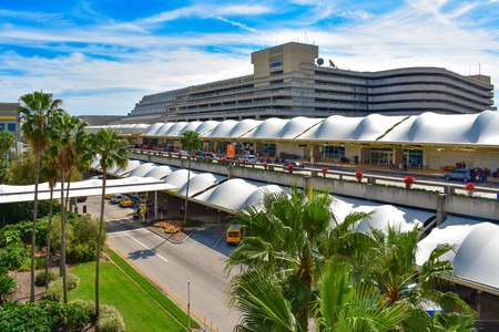 Orlando, Florida. March 01, 2019. Panoramic view of Terminal A, Parking building A at Orlando International Airport (2)