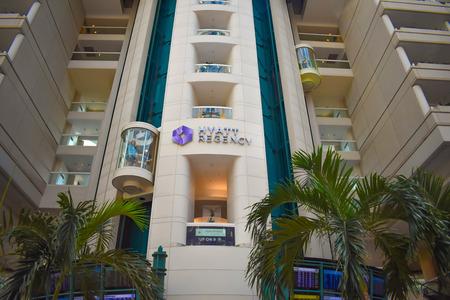 Orlando, Florida. March 01, 2019. Partial view of Hyatt Regency Hotel and elevators at Orlando International Airport. 報道画像