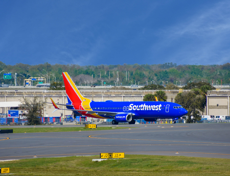 Orlando, Florida. March 01, 2019. Southwest aircraft on the runway preparing for departure from the Orlando International Airport (MCO).