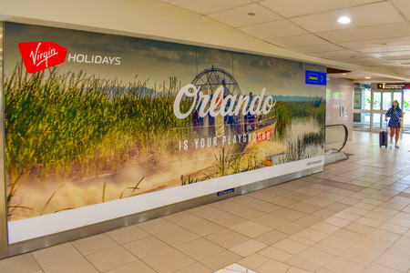 Orlando, Florida. March 01, 2019. Orlando is your Playground sign at Orlando International Airport