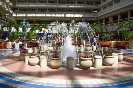 Orlando, Florida. March 01, 2019. Fountain close to Hyatt Regency Orlando International Airport.