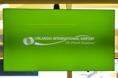 Orlando, Florida. March 01, 2019. Orlando Airport green sign at Orlando International Airport. Editorial