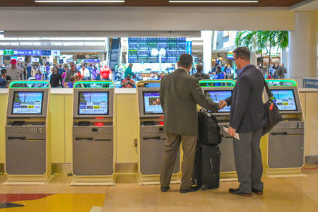 Orlando, Florida. March 01, 2019. Self-service check-in at Orlando International Airport (2)