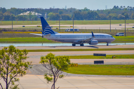 Orlando, Florida. March 01, 2019. Copa Airlines aircraft on runway preparing for departure from Orlando International Airport (MCO) (1) Editorial