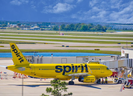 Orlando, Florida. March 01, 2019. View of airplane from Spirit Airlines (NK) at the gate in Orlando International Airport (MCO) (6)