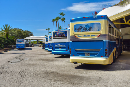 Orlando, Florida. March 01, 2019.Disney buses lined up in terminal A transportation area at Orlando International Airport. Editorial