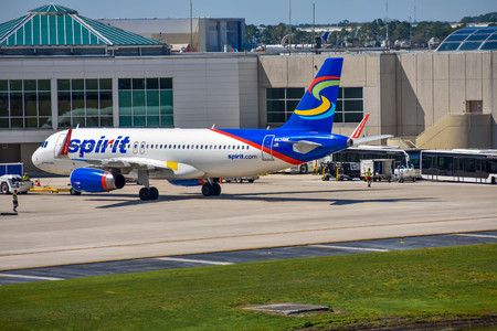 Orlando, Florida. March 03, 2019. View of airplane from Spirit Airlines (NK) at the gate in Orlando International Airport (MCO) (1)
