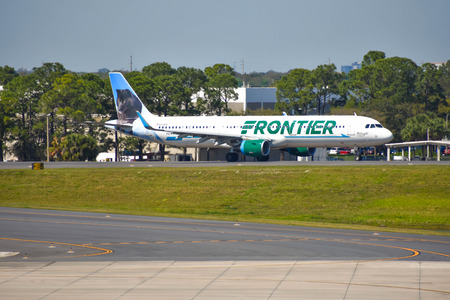 Orlando, Florida. March 02, 2019. Frontier aircraft on runway preparing for departure from Orlando International Airport (MCO) (2)