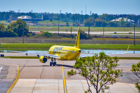 Orlando, Florida. March 03, 2019. Spirit Airlines aircraft on the runway preparing for departure from the Orlando International Airport (MCO) (2)