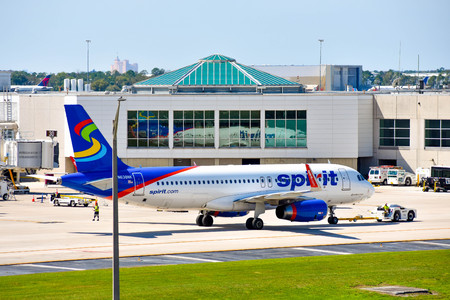 Orlando, Florida. March 01, 2019. View of airplane from Spirit Airlines (NK) at the gate in Orlando International Airport (MCO) (5)