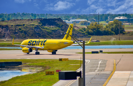 Orlando, Florida. March 01, 2019. Spirit Airlines aircraft on the runway preparing for departure from the Orlando International Airport (MCO).