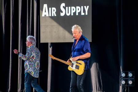 Orlando, Florida. March 26, 2019. Graham Rusell and Russell Hitchcock from air supply, singing beautiful melody at Epcot in Walt Disney World (3)