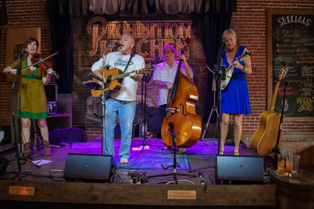 St. Augustine, Florida. March 31, 2019. Nice band playing in Prohibition Kitchen gastropub in Floridas Historic Coast.