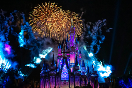 Orlando, Florida. April 02, 2019. Happily Ever After is Spectacular fireworks show at Cinderellas Castle in Magic Kingdom (7)