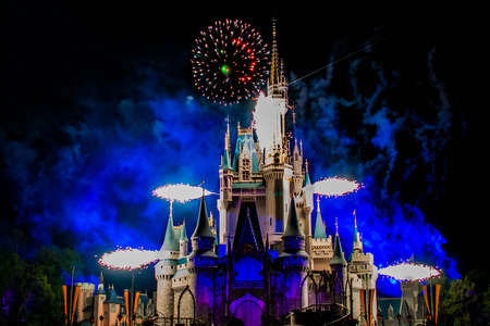 Orlando, Florida. April 02, 2019. Happily Ever After is Spectacular fireworks show at Cinderellas Castle in Magic Kingdom (14) 報道画像
