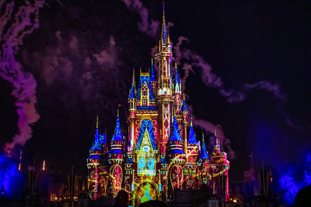 Orlando, Florida. April 02, 2019. Happily Ever After is Spectacular fireworks show at Cinderellas Castle in Magic Kingdom (22)