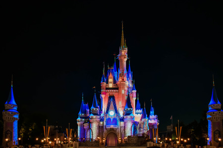 Orlando, Florida. April 02, 2019. Happily Ever After is Spectacular fireworks show at Cinderellas Castle in Magic Kingdom (23)