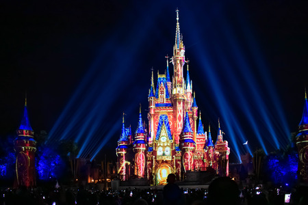 Orlando, Florida. April 02, 2019. Happily Ever After is Spectacular fireworks show at Cinderellas Castle in Magic Kingdom (24)