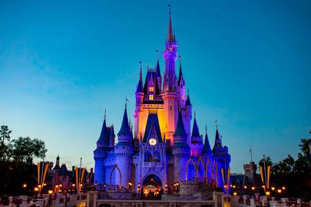 Orlando, Florida. April 02, 2019. Illuminated and colorful Cinderellas Castle at Magic Kingdom in Walt Disney World area.