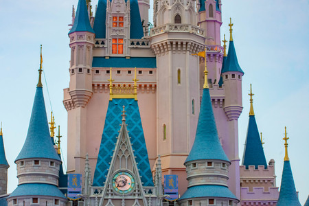 Orlando, Florida. April 02, 2019. Partial view of Cinderellas Castle on lightblue background at Walt Disney World (1) 에디토리얼