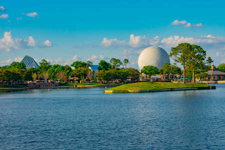 Orlando, Florida . March 27, 2019. Panoramic view of people walking on boardwalk and Sphere at Epcot in Walt Disney World.