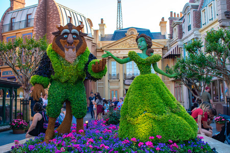 Orlando, Florida . March 27, 2019. Beauty and Beast topiaries in France Pavilion at Epcot in Walt Disney World.