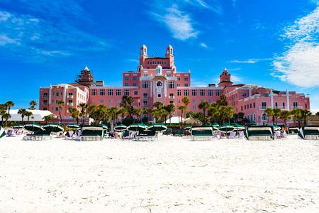 St. Pete Beach, Florida. January 25, 2019. Panoramic view from the beach of The Don Cesar Hotel. The Legendary Pink Palace of St. Pete Beach (3)